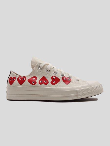 Comme des Garçons Play Multi Heart Converse Low Top - Off White