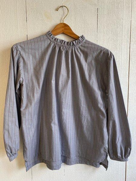 Conrado Umeda Ruffle Top - Grey Stripe