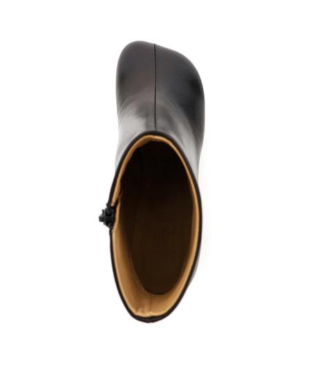 MM6 Maison Margiela Leather Ankle Boot - Black
