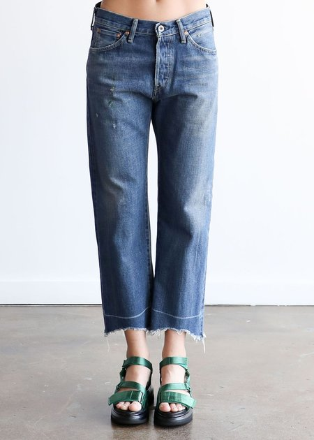 Chimala Selvedge Denim Used Ankle Cut Jeans - Vintage Dark