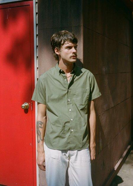 Steven Alan Short Sleeve Single Needle Shirt - Olive Poplin