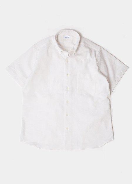 Steven Alan Short Sleeve Single Needle Shirt - White Seersucker