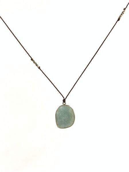 "Margaret Solow XL Aquamarine Silver Necklace - 30"""