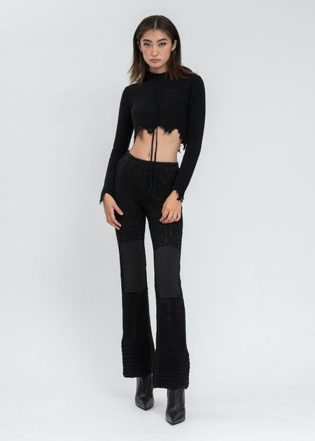 Danielle Guizio Knit Crochet Flared Pants - Black
