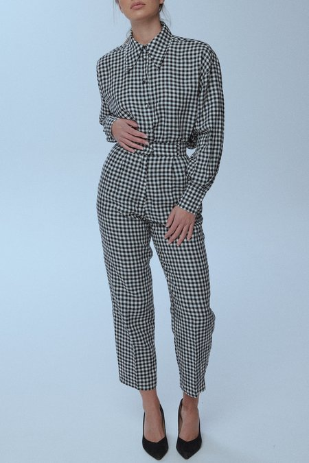 Pleat Front Trousers - Gingham