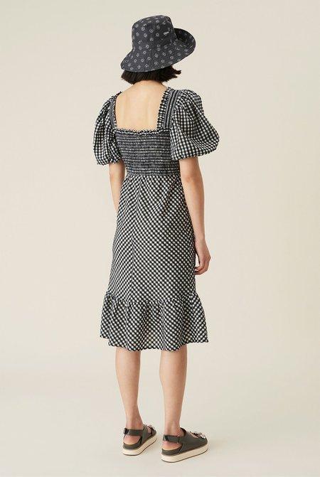 Ganni Checkered Seersucker Shirred Midi Dress