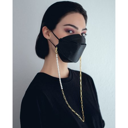Pearl & Chain Mask Holder Necklace - 20k Gold