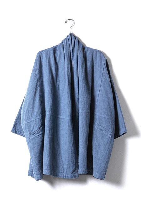 Atelier Delphine Haori Cotton Coat - Steel Blue