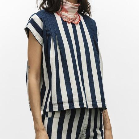 Carleen Pleated Stripe Top - Black/White