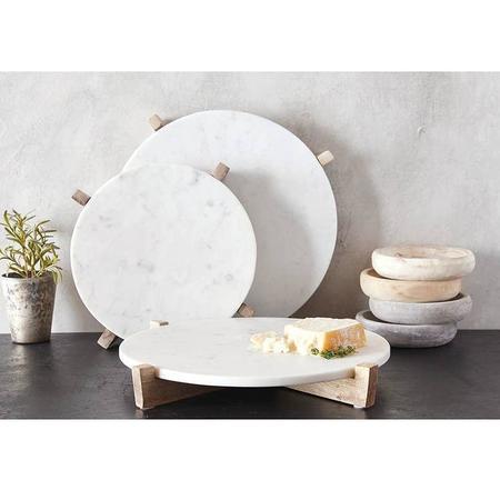 Salchicha Marble and Mango Wood Tray - White