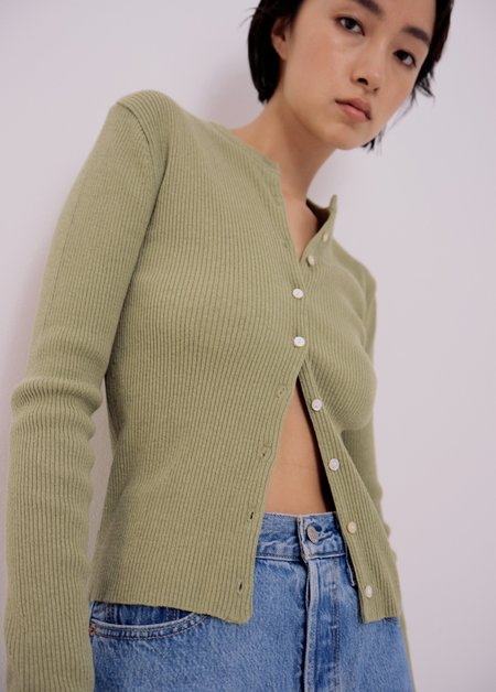 Mijeong Park Ribbed Knit Short Cardigan - Light Green
