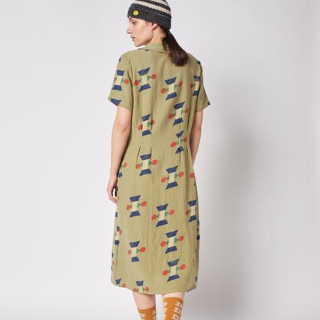 Bobo Choses Geometric Print Lapel Buttoned Dress