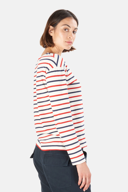 Nili Lotan Women's Arlette Long Sleeve Shirt - Navy/Red