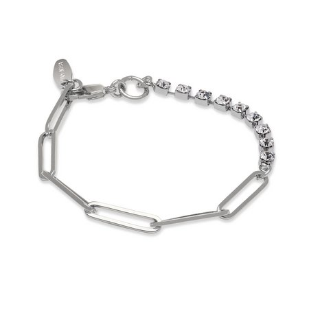 Joomi Lim Asymmetrical Chain & Crystal Bracelet - Brass