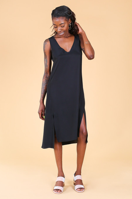 Vincetta Roan Slip Dress in Black Silk