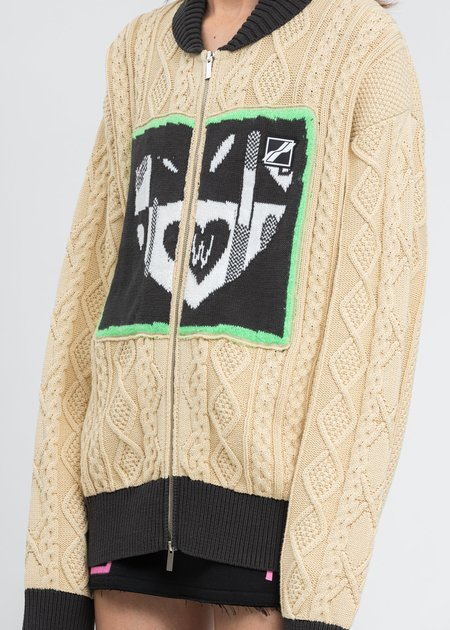 we11done Beige 'HEART' Jacquard Patched Cable Knit Jacket