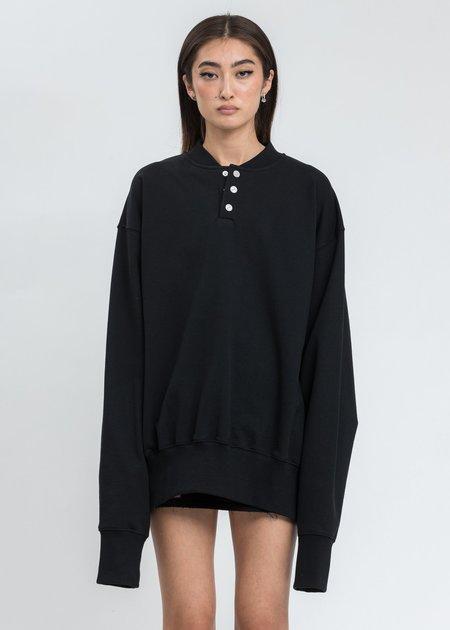 we11done Black Logo Embroidered Henley Sweater