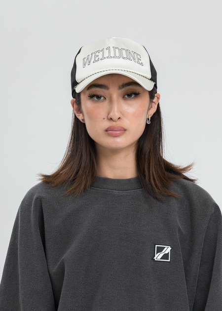 we11done Ivory Lettering Satin Cap