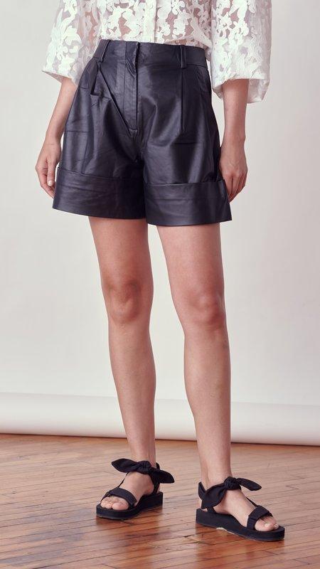 By Malene Birger Damapanae Leather Shorts - black