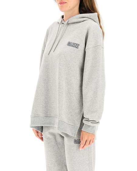 GANNI Embroidered Logo Sweatshirt - gray