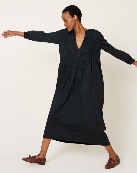 Raquel Allegra Victorian Pintuck Dress - Black