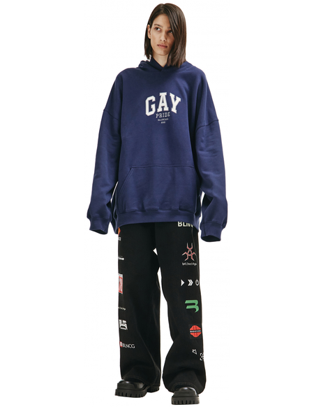 Balenciaga Gay Pride Embroided Hoodie - Navy Blue