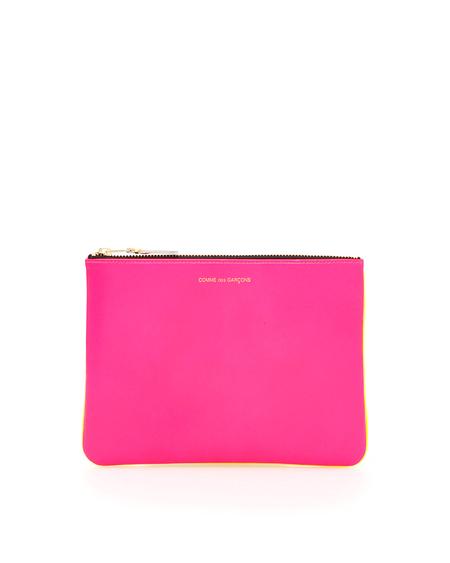 Comme des Garçons Leather Super Fluo Wallet - Pink/Yellow