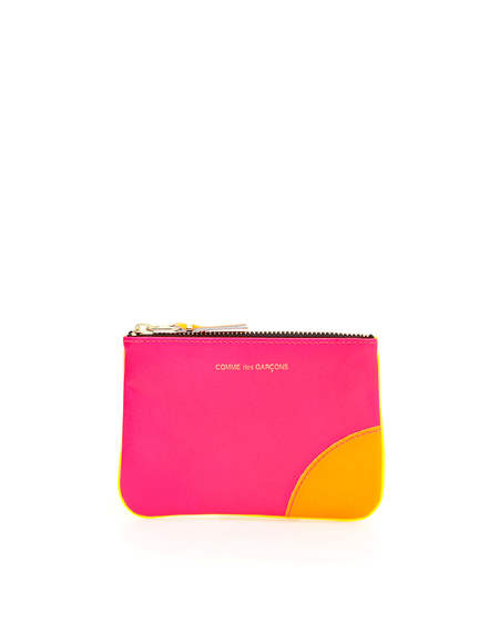 Comme des Garçons Leather Pouch with Zip - Pink/Yellow