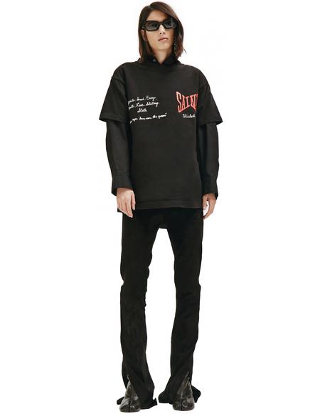 Saint Michael Black Printed T-shirt - black