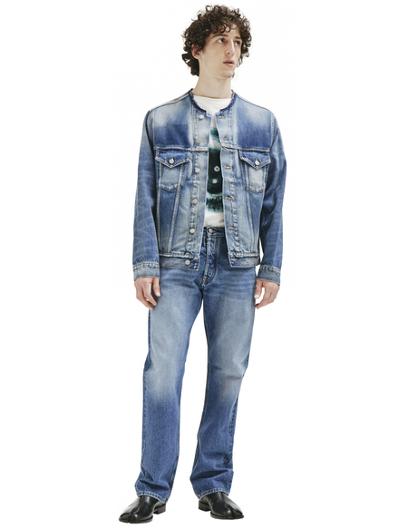 Maison Margiela Collarless Denim Jacket - Blue