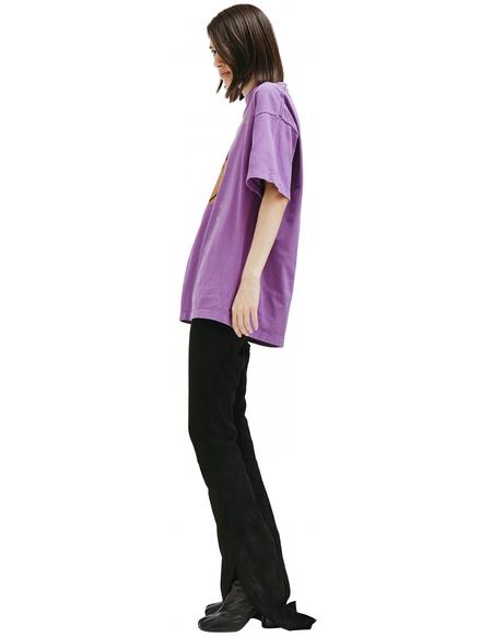 Saint Michael Printed Cotton T-shirt - purple