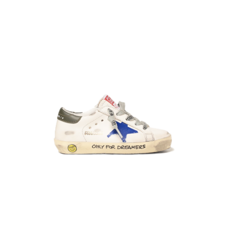 kids Golden Goose GJF00101.F002018.15310 Super-Star Leather Upper Heel shoes - Print Milk/Blue/Dark Blue