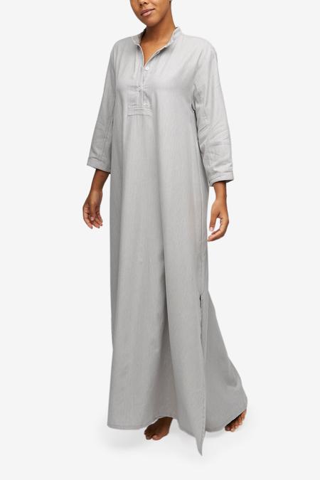 The Sleep Shirt Full Length Sleep Shirt - Grey Herringbone