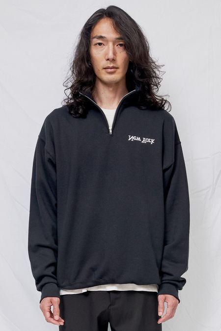 Assembly New York Embroidered Half Zip Sweatshirt - black