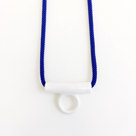 Aubrey Hornor Blue Hollow Tab Necklace