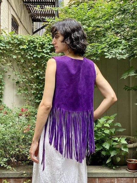 Vintage Suede Fringe Vest - Purple
