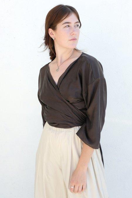 Miranda Bennett Silk Charmeuse Wrap Top - Badlands