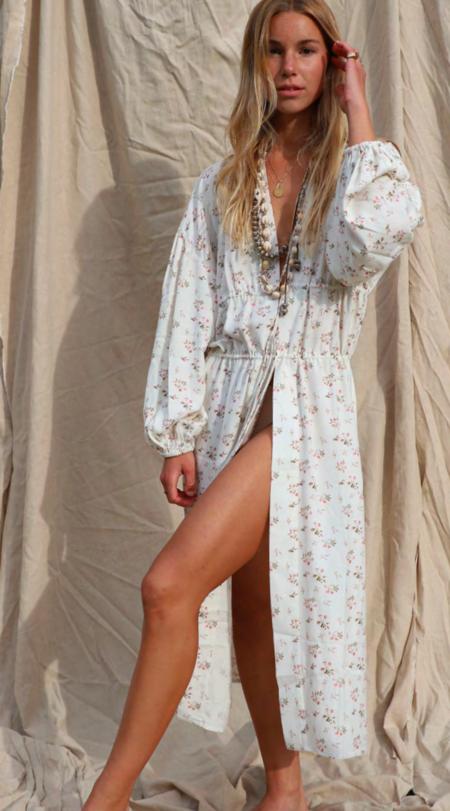 Jen's Pirate Booty Manon Kimono - White Floral SAMPLE