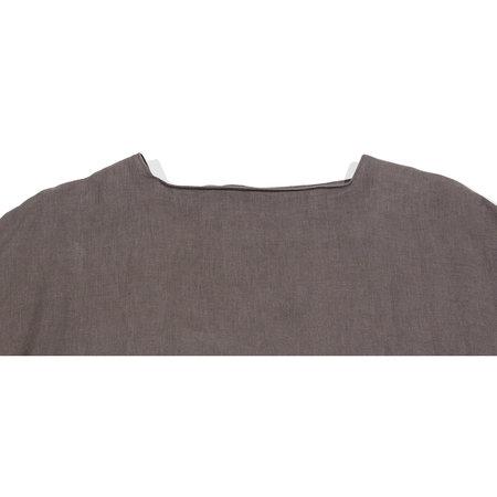 Black Crane Linen Tradi Dress - Gray