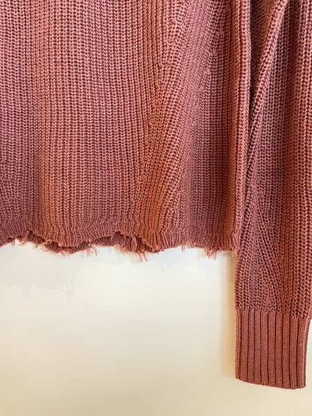 Autumn Cashmere Distressed Hem Sweater - Rose
