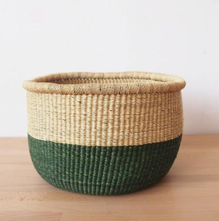 Amsha Ghana Floor Basket - Forest Green