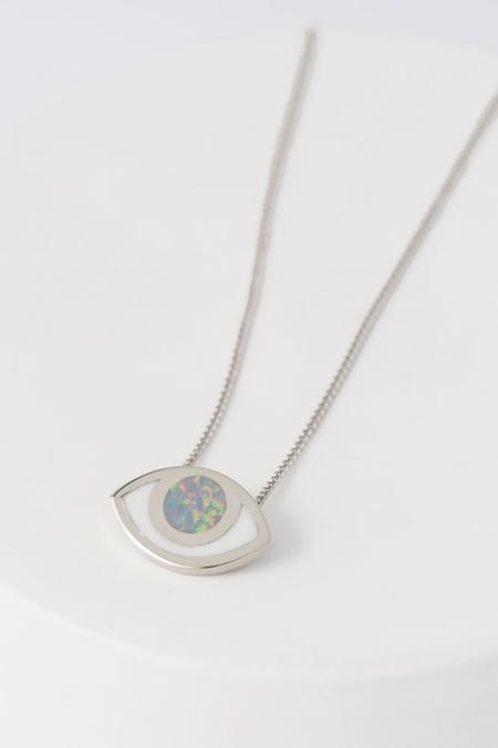 PIA Third Eye Pendant Necklace - Silver & Opal