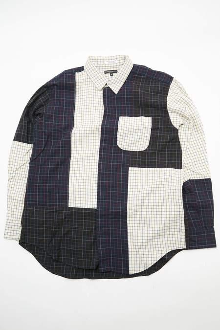 Engineered Garments Combo Short Collar Shirt - Ivory Cotton Tattersall