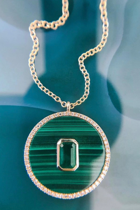 Pade Vavra Malachite Emerald and Diamond Necklace