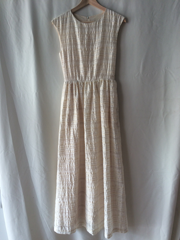 Amanda Moss Long ivory seersucker Dress