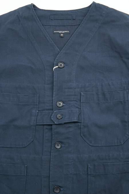 Engineered Garments Heavyweight Cotton Ripstop Cardigan Jacket - Dark Navy