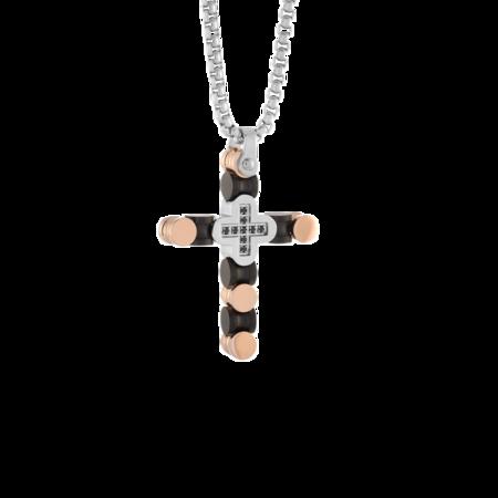 Italgem Cross Pendant Spinel SC127 Necklace - Black