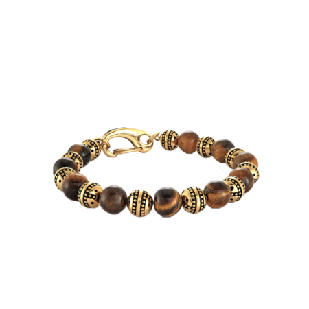 Italgem Solanus Beads Brown Tiger Eye Clip-Clasp BB-219 Bracelet