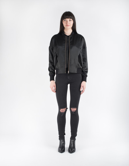 Neuw Satin Bomber Black