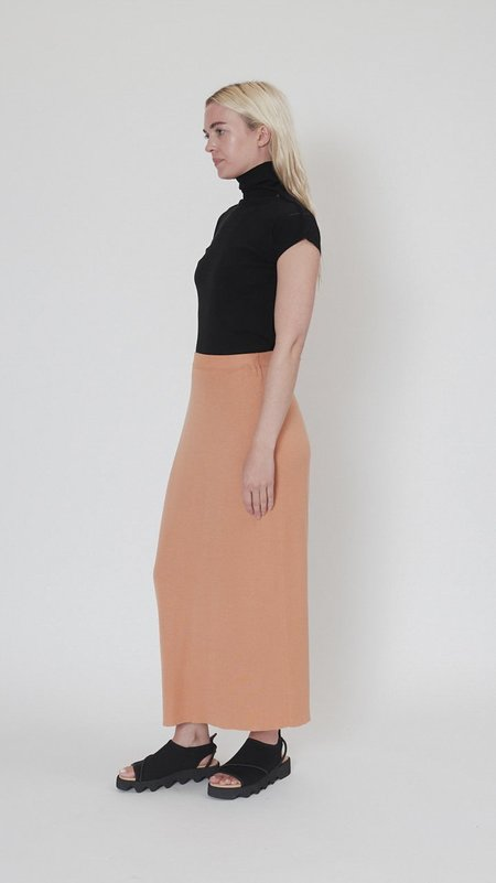 Issey Miyake Silky Drape Knit Skirt - Light Orange
